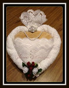 The Heart Shape Bride Towel Cake by GloriousGCreations on Etsy, $35.00