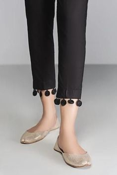 ladies pants designs are a real wardrobe challenge. Here are few beautiful cut trouser designs for women. Check out formal trousers for work shopping list. Kurti Sleeves Design, Kurta Neck Design, Sleeves Designs For Dresses, Girls Dresses Sewing, Stylish Dresses For Girls, Stylish Dress Designs, Trousers For Girls, Pants For Women, Ladies Pants
