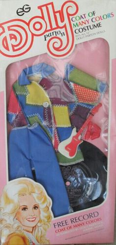 Dolly's Coat of Many Colors Outfit Bonus a record of Dolly's Mama telling the story Coat Of Many Colors, Dolly Parton, Hello Dolly, Colourful Outfits, Bee, Barbie, Lilacs, Costumes, Dolls