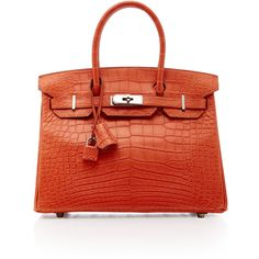 Heritage Auctions Special Collection Hermes 30cm Sanguine Alligator... ($87,840) ❤ liked on Polyvore featuring orange