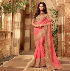 Peach Color Wrinkle Chiffon Designer Festival & Function Wear Sarees : Mirali Collection  YF-40665