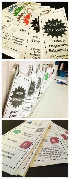 Math Brain Busters Bundle for upper grades! Includes 675 math problems aligned to common core standards. Includes a set for Number Systems, Ratios & Proportional Relationships, Expressions & Equations, Geometry, Statistics & Probability, and a variety pack. Easy to print, cut, hole punch, and clip together! Great for math centers or for students who are finished early