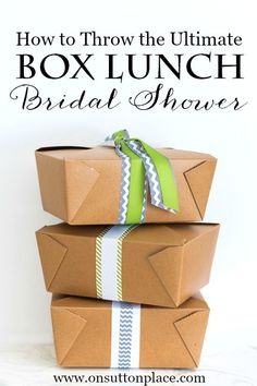Sources, menu and checklist for hosting the ultimate box lunch bridal shower. Everything you need to know!
