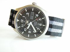"Seiko 5 Military Automatic Watch and ""James Bond"" style NATO Strap Seiko 5 Automatic, Automatic Watch, Seiko Military Watch, Nylons, James Bond Style, Field Watches, Nato Strap, Rolex Submariner, Armband"