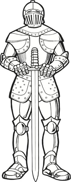 Knight in Armor (coloring page):