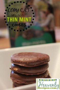 These Thin Mint Cookies are just delicious as the thin mint cookies sold by the girl scouts! It's a recipe you'll be sure to enjoy!