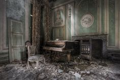 What memories do the walls of this magnificent abandoned castle hold? Who danced in this room or played at this once grand piano? Who walked away from it never to look back?