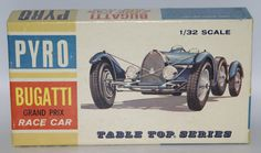 """Vintage 1960's PYRO 1:32 Scale BUGATTI Grand Prix Race Car Unassembled Model Kit #C303-60. This is set #17 in Pyro's """"Table Top"""" series. Features authentic molded automobile colors, clear plastic wind"""