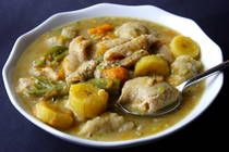 Tripe Soup : Tripe, Cowheel and Beef are among the many thick soups made in the Caribbean and enjoyed as a main meal.    The tripe most used and available in the Caribbean is cow's tripe. It is a meat that requires long cooking and so the best tool to use to make Tripe Soup is a pressure cooker. Of course the soup can be made in a regular pot but it will take at least 2 - 3 hours to be cooked enough so that the tripe is tender.