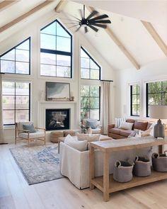 Cozy Living Rooms, Home Living Room, Living Room Designs, 4 Bedroom House Designs, Kitchen Living, Living Area, Br House, House Rooms, Dream Home Design