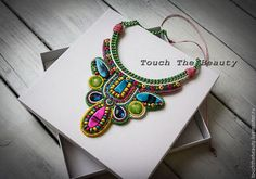 """Necklaces, handmade beads.  Necklace """"Colorful summer"""".  Olchik Cherenkov.  Fair Masters.  Boho style, symmetry, violet-yellow"""