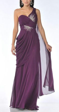 Meier Women's One Shoulder Chiffon Gown 1992 Purple Evening Dress, Chiffon Evening Dresses, Chiffon Gown, Evening Gowns, Purple Dress, Unique Prom Dresses, Lovely Dresses, Beautiful Gowns, Beautiful Outfits