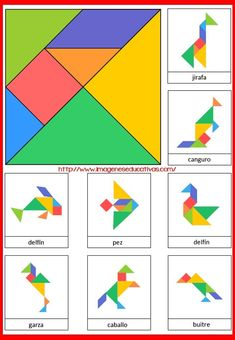 Tangram to print in color with 8 animal models - Anna Giné Roda - - Tangram à imprimer en couleur avec 8 modèles d'animaux Tangram to print in color with 8 models of animals -Model a inprimer Montessori Activities, Learning Activities, Preschool Activities, Kids Learning, Math For Kids, Crafts For Kids, Tangram Puzzles, Math Games, Kids Education