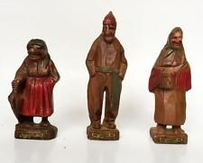 Vintage wooden hand carved Old Man and 2 Women Statuettes Figurines, ... Lot 46B