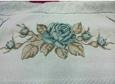 This Pin was discovered by Dor Cross Patterns, Bargello, Blue Flowers, Shabby Chic, Cross Stitch, Embroidery, Handmade, Painting, Cross Stitch Borders