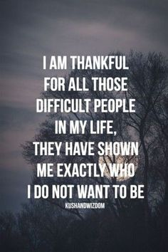 i am thankful for all those difficult people in my life. they have shown me exactly who i do not want to be.