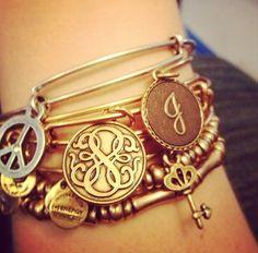 Stacked Alex and Ani bracelets