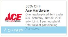 Ace Hardware: Get 50% Off One Item w/ Printable Coupon (Valid 11/30 Only) | SassyDealz.com