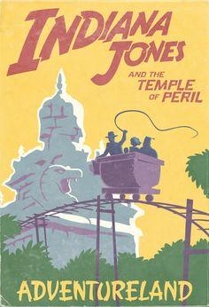 Affiche - Indiana Jones et le Temple du Péril - Disneyland Paris Posters Disney Vintage, Disneyland Vintage, Disneyland Paris, Vintage Travel Posters, Images Disney, Art Disney, Disney Love, Disney Parks, Art And Illustration