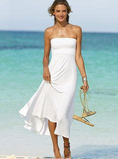 This is honestly the dress I want for my wedding.. soooo simple, cotton and comfortable. summery and cheap compared to an actual wedding dress. id just accent it with a brown ribbon or something!