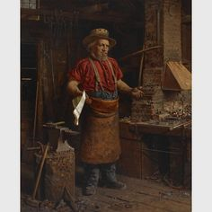 """Thomas Waterman Wood, """"Politics in the Workshop,"""" (1867), oil on canvas"""