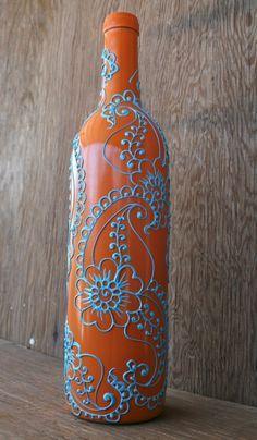 Henna Style Design On Vase Made From A Recycled Wine Bottle, Up Cycled,  Orange · Orange Bedroom DecorOrange BedroomsTurquoise ...