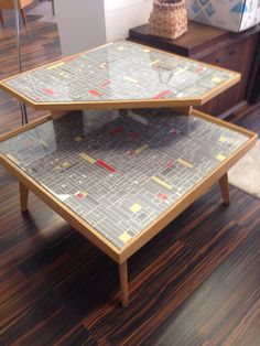 """SALE-Atomic corner table upscaled mid century retro space age look""""the Jetsons"""""""