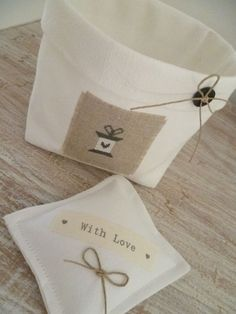 Cute! This website actually has some very cute finishes. The words on the little pillow come from printed twill ribbon!