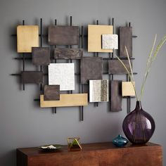 Wondering if this might be a DIY project in my future. Metal + Mirror Wall Art | west elm