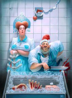 Creative Illustration by Russian Artist Waldemar Kazak Creative Illustration, Character Illustration, Digital Illustration, Arte Horror, Horror Art, Street Art Graffiti, Russian Humor, Funny Russian, Character Art
