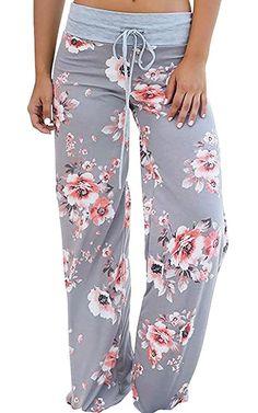 04ff6786dd2b8 Sierry Women's Floral Print Drawstring Palazzo Wide Leg Lounge Pajama Pants  at Amazon Women's Clothing store