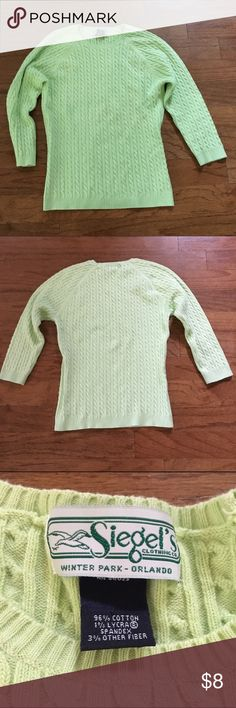 Green cable knit light sweater women's M siegels This is a nice light sweater that matches nicely with Lilly and other tropical fabrics. The tag says M but it looks kind of small. A nice vintage white label Lilly Pulitzer dress.  It's in good shape but with all vintage clothes there may be some small spots or fading that I have missed. Please take a look at all of my items for more clothes and other great finds. siegels winter park Sweaters
