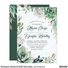 Greenery | Green & Gold | Succulent Floral Wedding Invitation Cheap Bridal Shower Invitations, Bridal Shower Invitation Wording, Addressing Wedding Invitations, Elegant Wedding Invitations, Birthday Invitations, Garden Bridal Showers, Elegant Bridal Shower, Greenery, Country