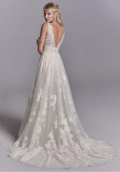 423f11df8660 Sottero and Midgley Oliver A-Line Wedding Dress V Neck Wedding Dress, White  Beach
