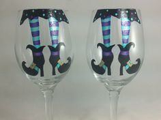 Halloween Glasses Etsy listing at http://www.etsy.com/listing/162146708/halloween-wine-glasses-black-and-teal