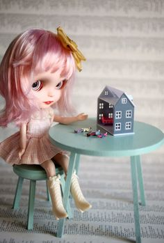 Mini vintage dollhouse  for 1/6 scale dollhouse by UtterMabness, $15.00