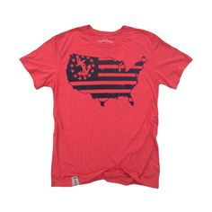US Map Yacht Ensign: Tri-Blend Short Sleeve T-Shirt in Tri Red & Black