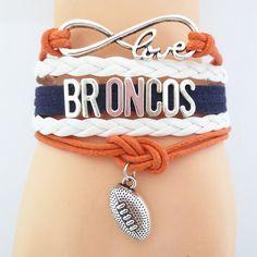 Infinity Love Denver Broncos Football Bracelet BOGO