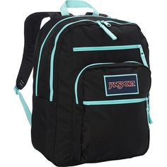 Jansport Big Student Overexposed  Backpack ($46) ❤ liked on Polyvore featuring bags, backpacks, black, jansport backpack, jansport and jansport bags