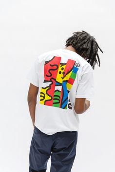 graphic tee with primary colors
