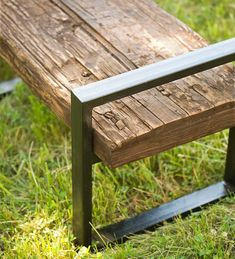 Our Reclaimed Wood And Iron Outdoor Bench is crafted from shorea wood railroad ties, some 100 years old or more. This dense, durable wood is proven to stand the test of time in the outdoors.  Each exclusive, eco-friendly bench is unique, with characteristic natural distressing marks. The simple iron frame is powder coated in a rustic bronze finish. Perfect for patio or out in the yard.