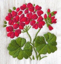 Geranium - Silk Stitch & SPusheen Crochet - How to Crochet: Textured Wave Stitchmachine embroidery designs at embroidery library color change - PIPicStatsCool Stuff To EmbroiderThis Pin was discovered by мар French Knot Embroidery, Embroidery Flowers Pattern, Hand Embroidery Stitches, Silk Ribbon Embroidery, Crewel Embroidery, Hand Embroidery Designs, Embroidery Techniques, Embroidery Kits, Cross Stitch Embroidery