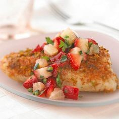 #8: Pile on FishGrilled fish is the base, chopped strawberries are the finish. This is a gorgeous take on Tuesday night dinner.