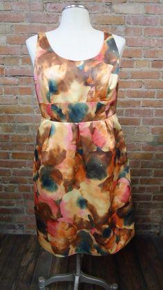 2e515b6a567164 Merona Watercolor Floral Satin Tank Sleeveless Dress Size 12 Wedding Event  Party