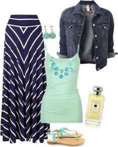 Dark blue gown, light green shirt, jeans jacket and sandals for ladies.I really want a jean jacket! Street Style Outfits, Casual Outfits, Mint Outfits, Modest Outfits, Look Fashion, Fashion Outfits, Womens Fashion, Modest Fashion, Fashion Ideas