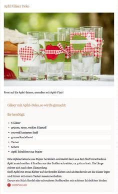 Gläser mit Apfel-Deko