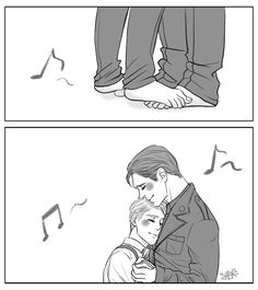 [Image: Pre-serum Steve Rogers and Bucky Barnes dancing together; STeve is standing on Bucky's feet, his cheek pressed to Bucky's chest.]