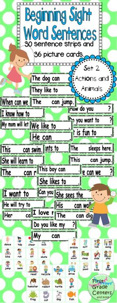 Sight Word Sentences Set 2: Actions and Animals $