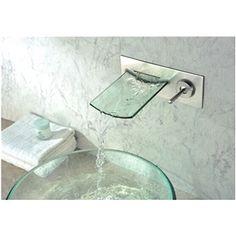 a1a17aaf916516 (Entrepôt UE) Robinet de baignoire de verre Simple poignée chromé cascade  mural (0599