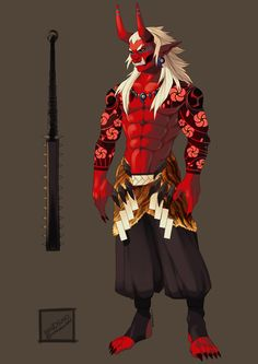Otakemaru - Akai Oni by Kendigo on DeviantArt Fantasy Character Design, Character Design Inspiration, Character Art, Oni Demon, Demon Art, Mythical Creatures Art, Fantasy Creatures, Oni Art, Japanese Oni